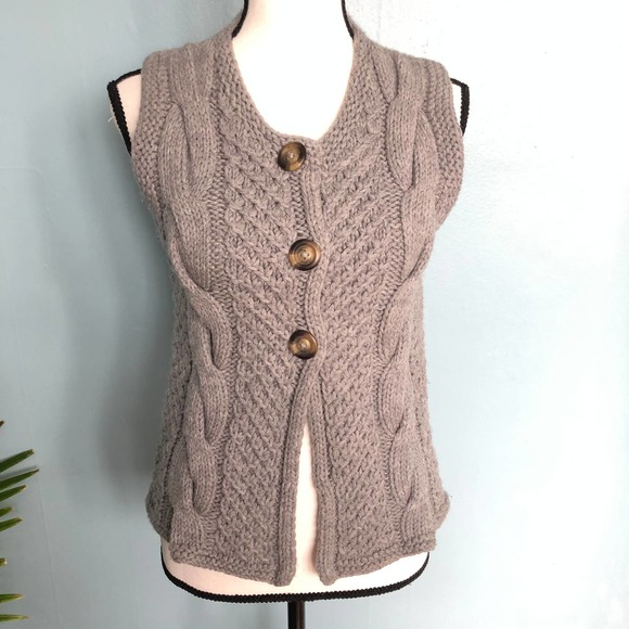 Boden Gray Wool Button Front Sweater Vest Sz 6